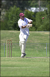 Tintenbar-East Ballina batsman Mick Gabriel pulls during his innings of 74 against Eastern Districts at Oakes Oval, Lismore, on