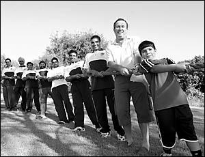 Woolgoolga?s tug-o-war champions, from left, Kuljit Basra, Kulwinder Basra, Michael Basra, Sukdheep Nahal, Jaswinder Basra, Nav