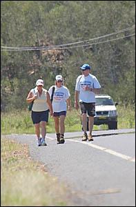 Rachel Callahan, centre, with Sally Hoy, left, and Steve Cansdell at Ilarwill.
