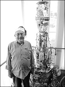 Ron Howitt from the Coffs Harbour Masonic Village shows his Christmas spirit with a sculp- ture he?s been creating for the past