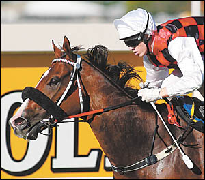 Takeover Target with Jay Ford aboard winning the Summer sprint in track record time at Doomben on Saturday.Photo courtesy THE C