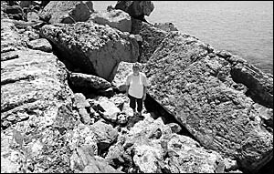 Ros Parker believes the southern breakwall is deteriorating to such an extent that it is becoming dangerous to use.