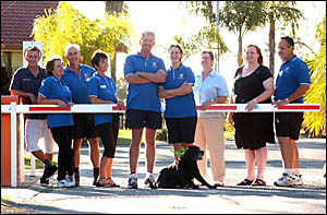 Getting together to mark the handing over of Yamba Waters Caravan Park are, from left, staff Mitch Baker, Jackie Mackay, Al Mul