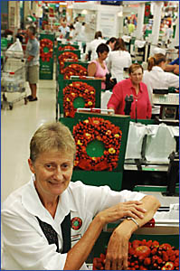 READY FOR RETIREMENT: Woolworths employee Margaret Watkins retired yesterday.
