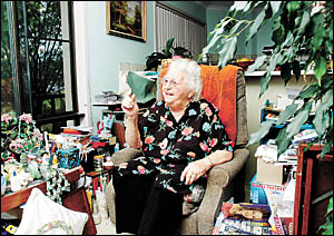 Enjoying her independence ... Thelma Cook at her Coffs Harbour Jetty home.