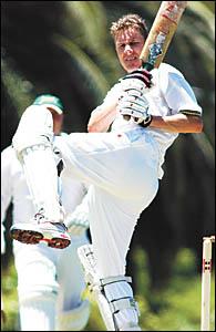 Park Beach Bowling Club Colts batsman Matt Rose made a short-lived attack on the bowling.