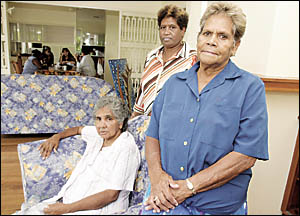 At the newly-opened Yinganeh Aboriginal Women?s Refuge in Lismore are (from left) Maria Sharpe, a member, Lyn Roberts, acting c
