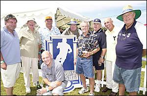 League greats attending the Men of League Ballina race day on Saturday were, from left, Graham Eadie, ARL organisor Bob Abbott,