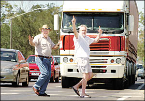 BYPASS ALL THE RAGE: Alan Brown, chairman of the Ballina Bypass Action Group, left, and Kerr Street resident and committee memb