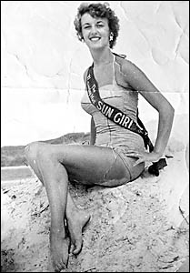 BEACH BEAUTY: Val Steward, of Byron Bay, won the title of Miss Byron Bay in the Sun Girl contest in 1955