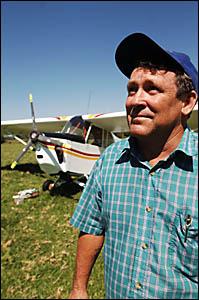 COOL PILOT: John Thurtel?s plane descended 2000 feet before being landed safely on farming land near the Ulmarra Ferry tur