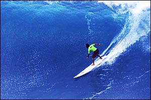 BIG challenge ahead ... ROSS Clarke-Jones winning the Eddie Aikau memorial event at Waimea Bay in 2001 posting 319 points (of a