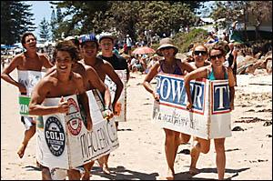 Brooms Head beach boat races.