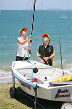 Heidi (left) and Matthew Graham prepare Heidi?s sabot at the national championships on Keppel Bay.