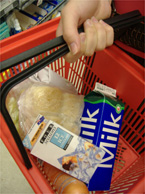 BASKET CASE: Condoms among the groceries.