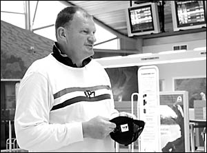 Mark ?Jacko? Jackson waiting at Coffs Harbour Airport yesterday to collect his co-star Mark ?Chopper? Read.