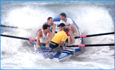 Sweep Rob Flood takes the Maroochydore A grade boat crew through training.