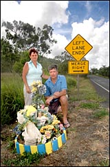 Margaret and Dave Thomas hope their daughter?s roadside memorial will encourage drivers to drive responsibly.