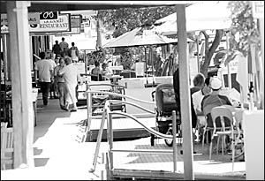 Footpath dining crackdown . . . Coffs Coast outdoor dining areas, such as those along the Jetty Strip, will be kept under surve