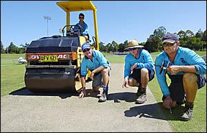 Staff at the Coffs Coast International Stadium, from left, Daniel Harris, Shane Hurry, Bob Schmitt and Russell Fensom preparing