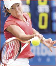 Belgium?s Justine Henin-Hardenne on her way to defeating Svetlana Kuznetsova of Russia. Image: DEAN LEWINS ? AAP IMAGE