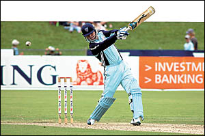 Stuart MacGill chases runs for NSW against Victoria at the Coffs Harbour International Stadium on Saturday. The leg-spinner gra