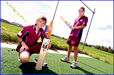 Gladstone wicketkeeper-batsman David Heymer (left) and Rachel Withoos starred in the National Primary Schools Cricket Exchange.