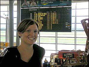 PRAGUE ADVENTURE: Former Grafton High student Jennifer Huxley at the Brisbane International Airport, preparing herself for her