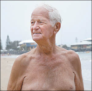 Ron Goodenough proves the point you are never too old to participate in the annual Ocean swims at the Coffs Harbour Jetty.