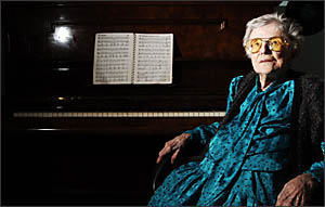 MUSICAL MEMORIES: Former piano teacher Mary McCaig holds dear to her favourite past-time, playing the piano.