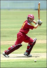 Former Gladstone cricket product Kasee Marxsen in action during her knock  of 105 off 125 balls for the Fire against Victoria.