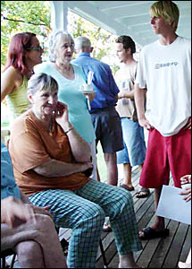 SeaChange scriptwriter Deb Cox, far left, mingles with people interested in writing film scripts for the Heart2Heart project.