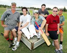 Dale McDonald, Hamish McDonald, Isaac McDonald, Matthew McDonald, Robert Hutchinson and Tony Newman are ready to play.