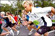 Young runners get the Australia Day Fun Run under way at the Tondoon Botanic Gardens yesterday.