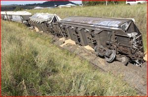 Josh Daley alerted his mum Karen to a grain train derailment yesterday.  Image: BEV LACEY