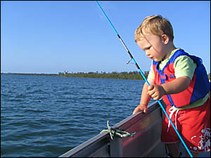 Young Nathan McGregor has been reunited with his blue fishing rod, an early Christmas present.