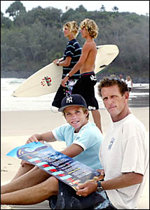 PHIL Arnott of the Surfrider Foundation with Fingal surfer Blake MacDonald and friends, displaying a proposed