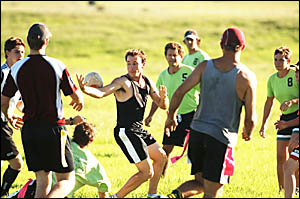 TRAININGDAY:Grafton representative Oztag hopefuls show off their skills during a selection training run at Jabour Park, South G