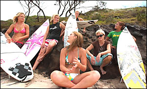 The Billabong Elite International Girls Team hangs out at Angourie yesterday. They are, from left, Lyndsay Noyes, Sheridan Shie