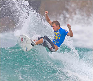 PALM Beach?s Brendan Leckie was a giant killer throughout the Billabong Pro Teen Series event on the Gold Coast and he finished