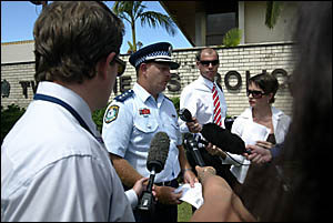 INSPECTOR Greg Carey addresses media representatives outside Tweed Heads police station yesterday.