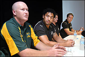 CUDGEN coach Jamie Mathiou (left) and New Zealand Warriors Ruben Wiki, Ivan Cleary and Steve Price front yesterday?s media conf