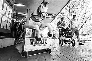 Trixie the Circus Pony at Jack Simmons Menswear has been delighting children since 1962 and at 20 cents a ride, he must represe