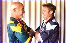 Australian hooker Jason Hetherington (left) and New Zealand skipper Gary Freeman