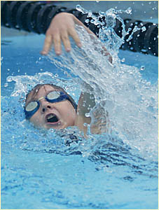 MELODY Cargill, of Fingal Public, competes in the girls? 100m Open freestyle at the Murwillumbah District Primary School swimmi