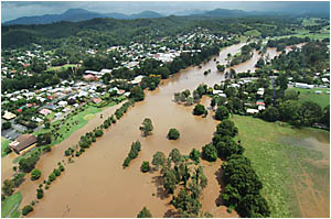 Lavenders Bridge was nowhere to be seen when floodwaters peaked at 7.5 metres at Bellingen yesterday morning, cutting the town