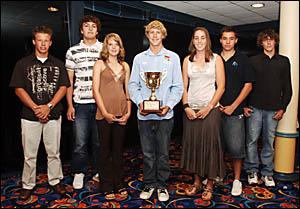 We love sport, from left, James Linger, Codie Hearfield, Kara Sutherland, Jacob Lollback, Ashleigh Peppernell, Daniel Austin an