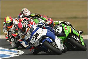 TWEED rider Karl Muggeridge leads the way during round two of the 2006 Superbike World Championship at the Phillip Island Circu