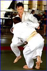 Gladstone star Adrian Robertson (facing) shows the form which earned him the Orica Open Judo tournament title.