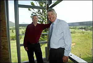 TWEED River Art Gallery?s Garry Corbert (right) with Senator Sandy McDonald yesterday.